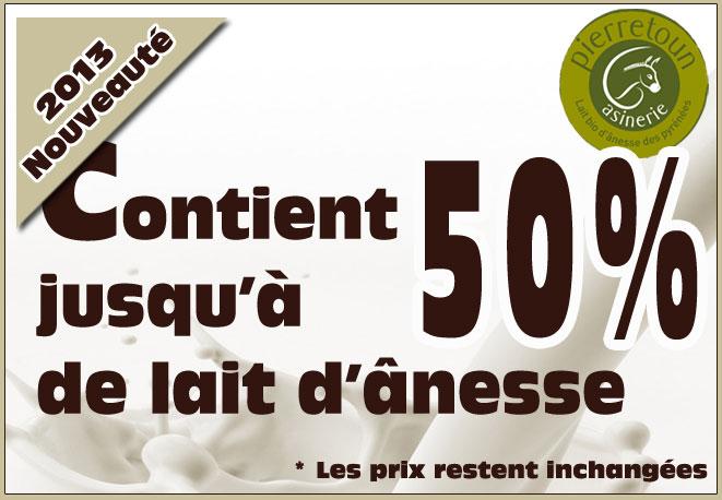 Notre gamme de produits contient jusqu'à 50% de lait d'ânesse
